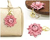 Tabletop Purse HANGER + Pink Flower BAG CHARM | Real Leather Rosy Rose Handbag Charm, Folding Table Purse Hook