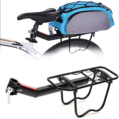 BTTHWR Bicycle Cargo Rack, Universal Rear Bike Carrier Rack Frame-Mounted Heavy Duty Bike Luggage Cargo Rack Barries Up…