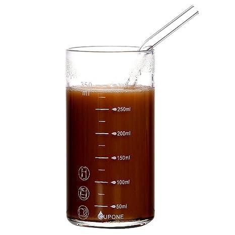 ehind Vasos medidores Transparente Taza de medir, 350 ML de Leche Taza de Cristal Transparente