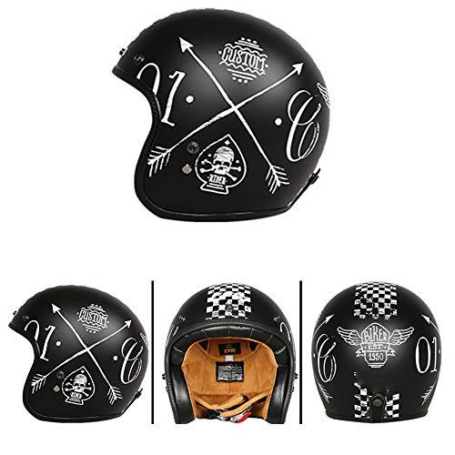 SWEI Fiberglass Motorcycle Helmet Scooter Bicycle Crash Helmet (Matte Black, Pirate Sword Pattern),L