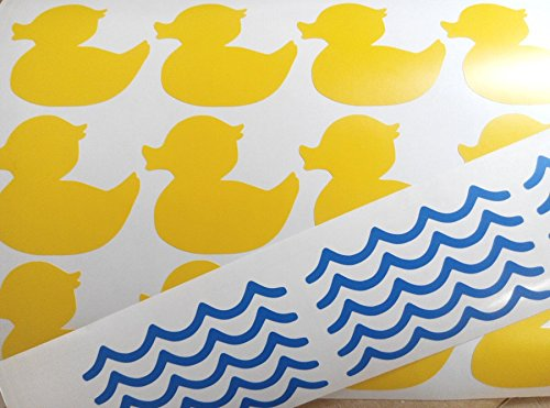 Rubber Duck Bathroom Decor   Set Of 30 Stickers   15 Rubber Ducks And 15  Waves