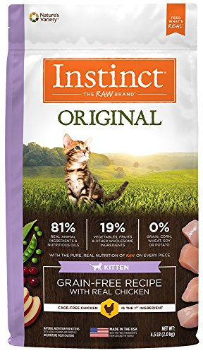 Nature's Variety Instinct Original Kitten Grain Free Recipe with Real Chicken Natural Dry Cat Food by, 4.5 lb. Bag