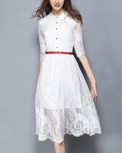 Vestidos Encaje de Fiesta Mujer Vintage Manga Corta Vestido de Novia Blanco