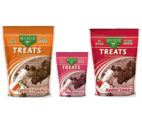 Buckeye All-Natural No Sugar Added Peppermint Bits Treats for Horses, 1 Pound with 37724 Sugar Free Carrot Crunchers, 4 lbs and Nutrition Treats for Horses, Apple Snaps, 4 Pounds