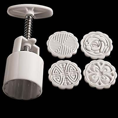 Kitchen Cake Pop Makers Flowers Round Shape ABS Plastic Cake Mold Chocolate Fondant Mooncake Bakeware Baking Molds 4 Stamps DIY Cake Molds