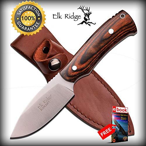 FIXED BLADE SHARP KNIFE Elk Ridge Bushcraft Brown Wood Hunt Tactical Survival ER-551DW Combat Tactical Knife + eBOOK by Moon ()