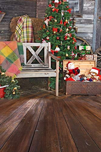 (Baocicco 8x12ft Vinyl Merry Christmas Celebration Background House Interior View Wooden Texture Plank Wall Floor Christmas Tree Decorations Ornaments Hay Stack Toy Chair Cloth Photo Shooting Backdrop)