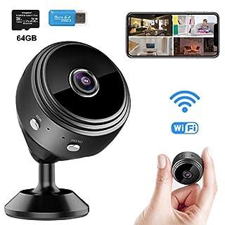 WiFi Spy Camera Mini Wireless Hidden Camera Small Security Surveillance Cameras with 64GB SD Card, Portable Tiny Nanny Video Cameras Camcorder for Home Office Car