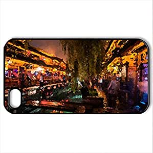 Chinese Market - Case Cover for iPhone 4 and 4s (Watercolor style, Black)