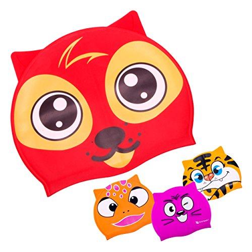 Swimtastic Kids Animal Print Swim Cap - 4 Fun Designs for Boys & Girls (Red - Roka Design