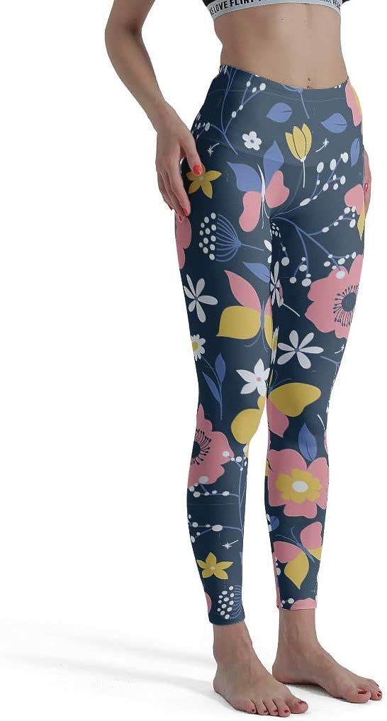 Suaves y activas tama/ño XL Mallas Deportivas para Entrenamiento de Muchos Tipos de Flores dise/ño art/ístico Color Blanco Culin-Legging