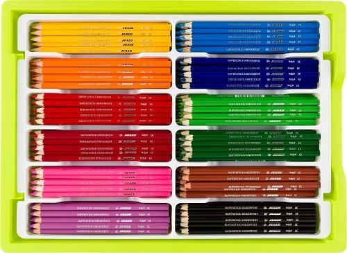 Jolly Supersticks Premium European Colored Pencils with Stackable Storage Box; 288 Pencils (24 each of 12 core colors), Arts and Crafts, Perfect for Adult and Kids Coloring by Jolly