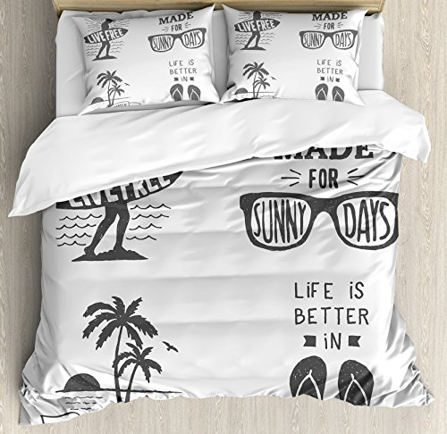 Quote Duvet Cover Set by Ambesonne, Collection of Summer Themed Typography Artworks with Beach Sunglasses Palm Pattern, 3 Piece Bedding Set with Pillow Shams, King Size, Black - Sunglasses Sham