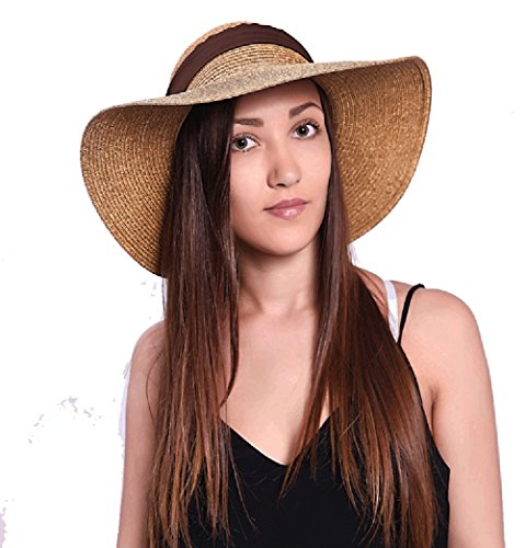 JOOWEN Sun Visor Hat Wide Brim Cap Floppy Foldable Beach Straw Hats for Women (Khaki 2)