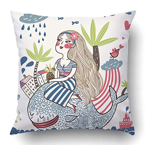 SHoelska Throw Pillow Covers Blue Rain Cute Girl on Whale in Cartoon Style Colorful Hair Sea Lips People Face Adult Beautiful Polyester 18 X 18 inch Square Hidden Zipper Decorative -