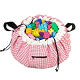Alice Jane Baby Co. Portable Play Mat and Toy Bag: Large 55' Indoor/Outdoor Playmat and Tote Bag Organizer with Drawstring for Toys - Cotton/Polyester Activity Floor Mats for Toddler Age Kids - Pink