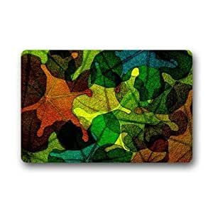 Best Custom Doormat-Colorful Stained Glass Leaves Pattern Design,Stained Glass Custom Non-Woven Fabric Top,Indoors/Outdoors Doormat 23.6 x 15.7