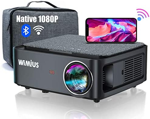 """5G WiFi Bluetooth Projector, WiMiUS K1 7500L Video Projector Native 1920x1080 LED Projector Support 4K, ±50° Keystone, 50% Zoom 400"""" Office Software Works with Fire TV Stick PC DVD PS4 Smartphones"""