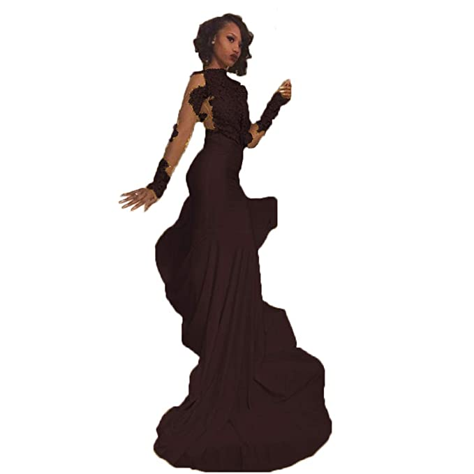 Chady Sexy African Black Girl Yellow Mermaid Prom Dresses 2017 Court Train Appliques Lace Long Sleeve Evening Party Gowns