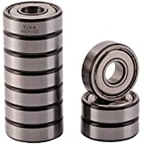 XiKe 10 Pack 607ZZ Precision Bearings 7x19x6mm, Rotate Quiet High Speed and Durable, Double Shield and Pre-Lubricated, Deep Groove Ball Bearings.