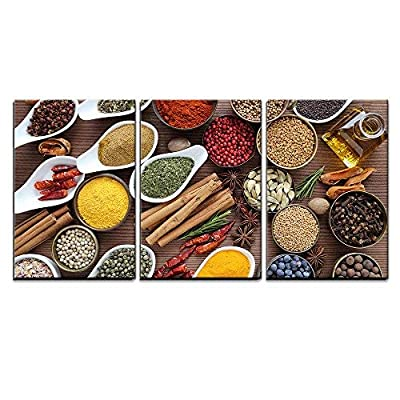 3 Piece Canvas Wall Art - Flavorful, Colorful Spices in Ceramic and Metal Bowls on Wooden Background. - Modern Home Art Stretched and Framed Ready to Hang - 24