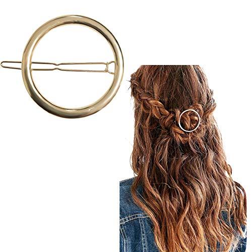 Joyci 1Pcs Creative Hoop Round Ponytail Holder Women's Geometric Metal Hair Pin (Gold)