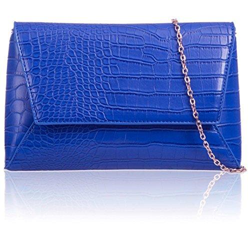 Xardi London, borsetta da sera da donna, taglia media, stile vintage, in finto coccodrillo motivo geometrico Royal Blue