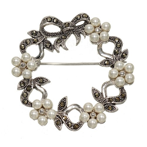 Glamour Rings Faux Pearl Flowers and Genuine Marcasite Wreath Brooch for Christmas or Anytime