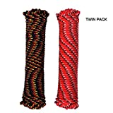 MICASA Utility Rope Paracord Nylon Twine - Diamond 16 Strands Braided, 100% New Polypropylene Material, 3/16inch by 100ft, Twin Pack, Camping Tools for Tent,Non- Fluorescene