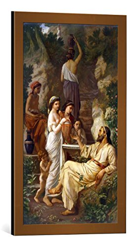 kunst für alle Framed Art Print: Anselm Feuerbach Hafis am Brunnen - Decorative Fine Art Poster, Picture with Frame, 15.7x27.6 inch / 40x70 cm, Copper Brushed