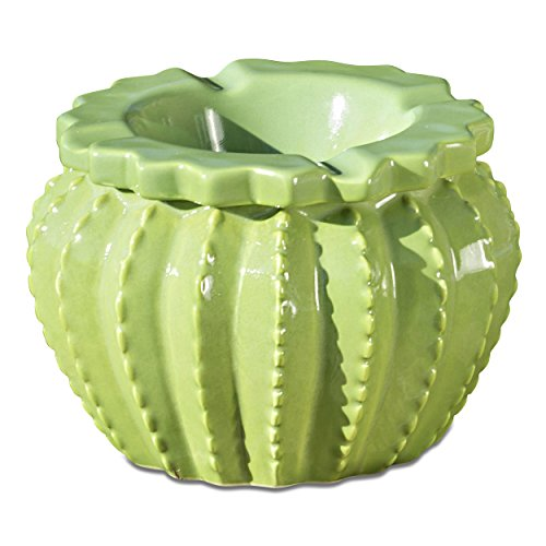 Whole House Worlds The Tropical Cactus Ashtray, Green Glazed, 2 Pieces, Hand Cast Ceramic, 4 3/4 Inches Diameter,