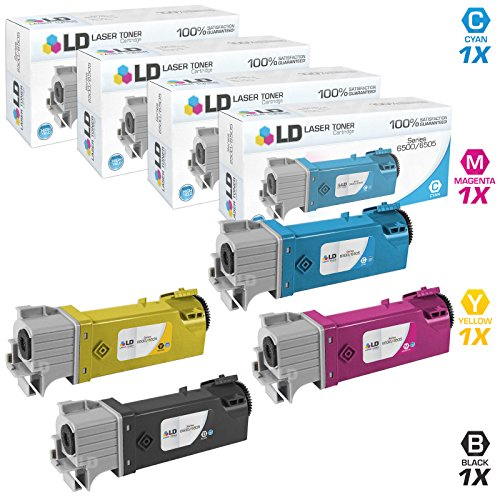 Compatible Xerox Toner Phaser (LD Compatible Replacements for Xerox Phaser 6500 Set of 4 Toner Cartridges Includes: 1 Black 106R01597, 1 Cyan 106R01594, 1 Magenta 106R01595, and 1 Yellow 106R01596)