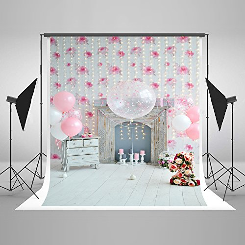 Kate 5x7ft Happy Birthday Party Photography Backdrops Modern Living Room Background Colorful Balloons and Bouquet Backdrops Winkles Free