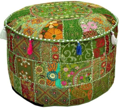 Indian Round Patchwork Embroidered Ottoman Pouf Bohemian Indian Decorative Patchwork Ottoman Pouf, Handmade Ottomen,Cotton Chair Cover,Home Living Room Vintage Pouf Size 14 X 22 X 22 Inches Cushion,