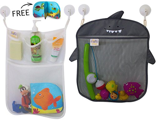 Bath Toy Storage by Jojo-Kids~Keep Toys Dry without Mold~Superior Quality and Non Toxic Toys Organizer inspired by Kids~Set of 2 Large Quick Dry Bathtub Mesh Net with 2x Hanging Hooks 4x Suction Cup