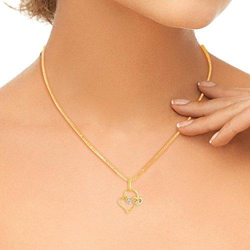 Giantti 14carats Diamant pour femme Collier Pendentif cœur (0.0347CT, VS/Si-clarity, Gh-colour)