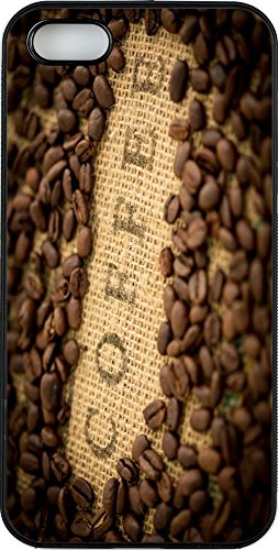Rikki Knight Phone Case for Apple iPhone 5/5s - Coffee Beans with Coffee inscripted on Bean Sack/Black