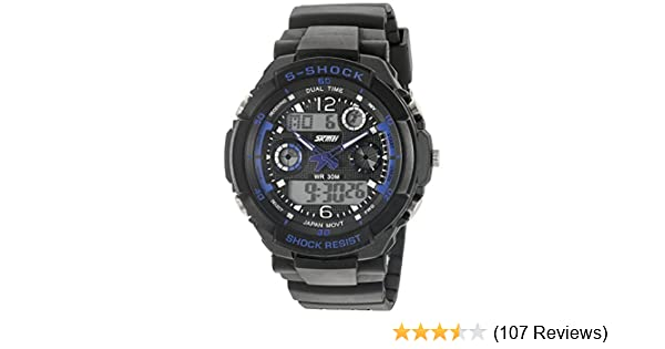 Amazon.com: SKMEI Multi Function Military S-shock Sports Watch LED Analog Digital Waterproof Alarm (Blue): Watches