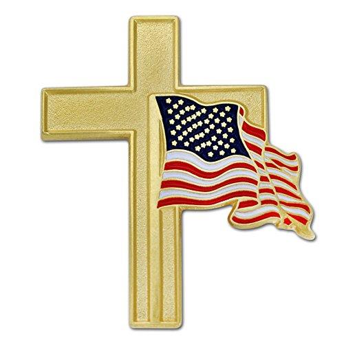 PinMart's Patriotic American Flag and Gold Cross Religious Enamel Lapel Pin (American Flag Pin Brooch)