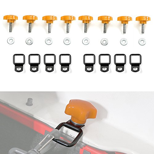 Jecar 8 Hardtop Quick Removal Bolts Thumb Screws & 8 D Ring Tie Down Anchors for Jeep Wrangler YJ TJ JK JKU Sports Sahara Freedom Rubicon X Unlimited X 2 4 door 1995-2018 accessories by Jecar