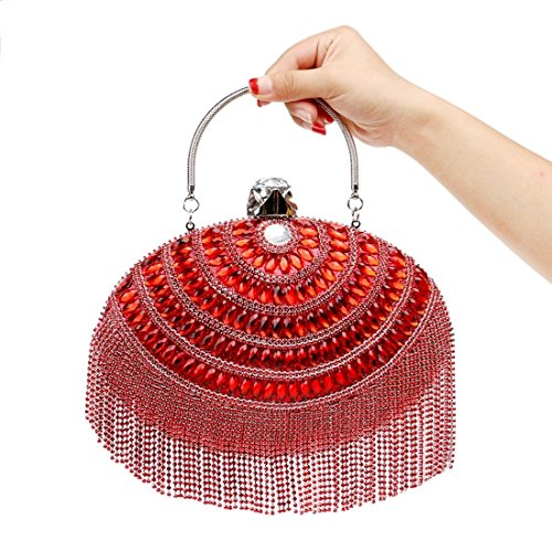 KERVINFENDRIYUN Evening Red Clutches Red Bag Handbag Luxury Bags Color Crossbody Tassels Women's rAUTqr