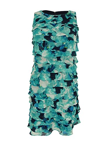 Jessica Howard Womens Petites Chiffon Floral Print Wear To Work Dress Blue 12P