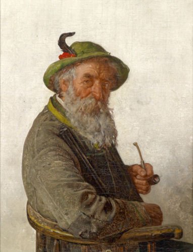 Amazon.com: 100% Hand Painted old man smoking in chair with green ...