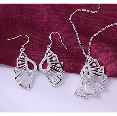 Fashion Silver-Plated (Includes Necklace&Earring) Hollow Fan Jewelry Set (1 sets)