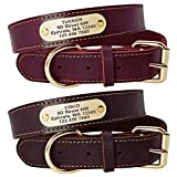 "Beirui Genuine Leather Personalized Dog Collars with Nameplate ID Tags, Custom Dog Collars Engraved for Medium Large Dogs,Rich Brown,M(1.1"" Width,16-21.5"" Neck)"