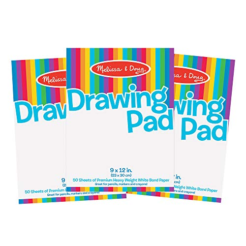 Melissa & Doug Drawing Paper Pad, 3-Pack of Large Drawing Pads, Pages Tear Cleanly, 50 Pages per Pack, Great Gift for Girls and Boys -