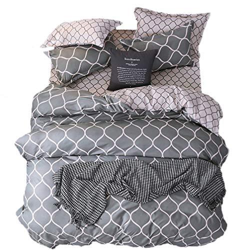 (Sookie Kids Polyester 4PCs Geometric Grid Net Bedding Set for Girls and Boys(1Duvet Cover+2 Pillow Shams+1 Sheet) Soft Teen No Comforter -King,Gray White Pink)