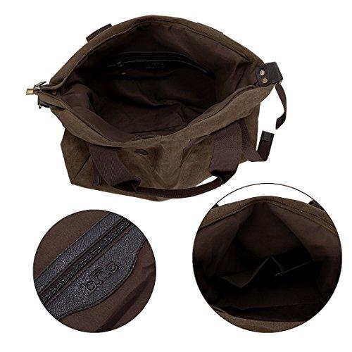 BMC - Bolso de asas de Lona para mujer Large marrón