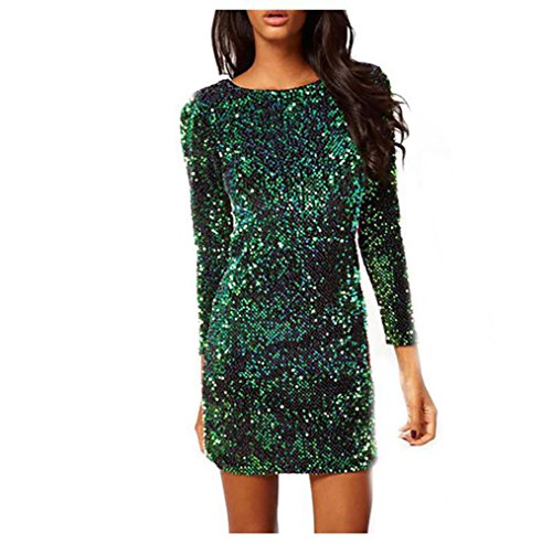 Autumn Glistening Sequin Cocktail Club Party Top Shimmer Glam Glitter Plus Size Fashion Dress Slim Fitting (L, Green)]()