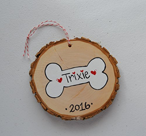 Wood Tree Slice Christmas Ornament , Personalized Dog Bone , Small Wall Decoration